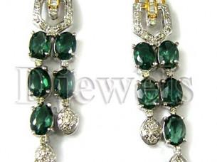 Natural Turmoline Green Diamond Errings..
