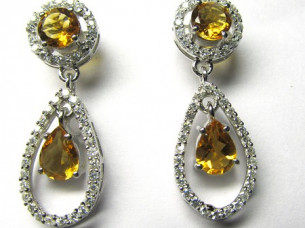 Gemstone Diamond Jewelry Earrings With Natural Stone..