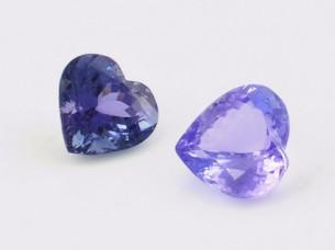 Heart shape cut tanzanite gemstone semi precious..