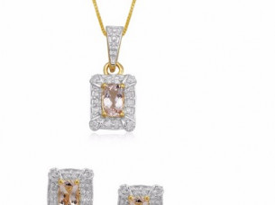 Diamond Cushion Morganite gemstones 10k gold jewellery pen..