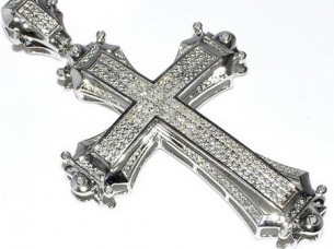Real Natural 2.00 cts Round Cut Diamond Cross Pendant in 1..