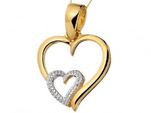 Heart Shape Diamond Pendant in 14 ct Gold Jewelry..