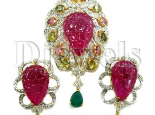 Ruby Gold Diamond Pendant Set..