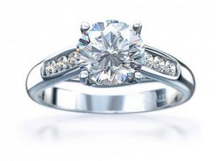 0.60CT Brilliant Cut Diamond Engagement Ring in 14k White ..