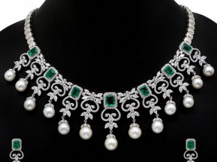 Indian Designer American Diamond Silver Necklace Set..