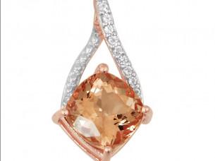 Rose gold plated white topaz morganite gemstones 925 sterl..