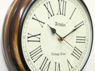 Artshai Round 12 inch wall clock with thick wooden base..