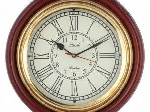 Artshai 12 inch wall Clock with brass ring and wooden base..