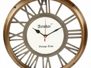 Artshai 13 inch Antique style wall clock, Roman number, Br..