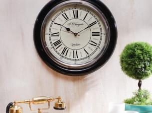 Artshai 16 inch Vintage look Black Wall Clock with brass r..