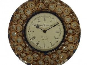 Purpledip Wall Clock for home, glass mosaic with rugged wo..