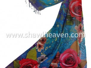 Digital Printed Scarves in floral pattern..
