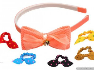 CLOTH PRINTED PARTYWEAR HAIR BAND & RUBBER BAND COMBO ..