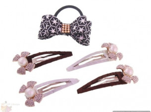 BOW SHAPE HAIR PIN AND RUBBER BAND COMBO WHA42..