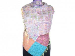 Vintage Silk Handmade Kantha Patch Work Scarf SC1429..