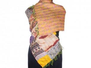 Vintage Silk Handmade Kantha Patch Work Scarf SC1433..