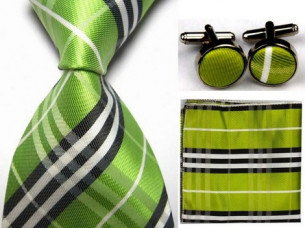 Mens Check Pattern Silk Business Tie Sets..