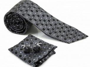 Mens Black Grey Necktie Pocket Square Cuff Link MA1A..