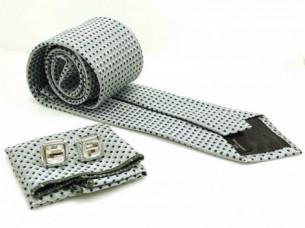 Mens Grey Black Necktie Pocket Square Cuff Link MA17A..