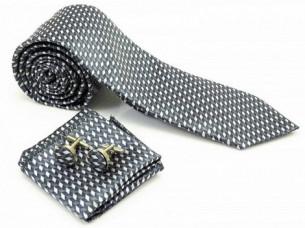 Mens Grey Silver Necktie Pocket Square Cuff Link MA6A..