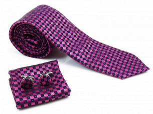 Mens Magenta Black Necktie Pocket Square Cuff Link Suit Ac..