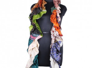 Vintage Style Silk Frill Scarves Trendy Design for Girls S..