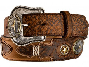 Amazing Unique Look carved western Leather Belt..