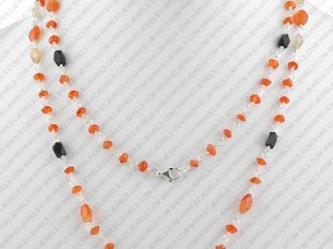 Sterling Silver Beaded Jewelry Necklace Set..