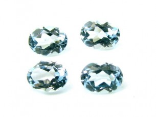 1.1Ct 4pc Lot 4X3mm Natural Real Blue Topaz Oval Gemstones..