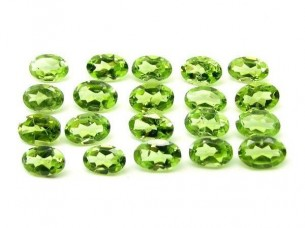10.1Ct 20pc Lot Natural Green Peridot Oval 6X4mm Faceted G..