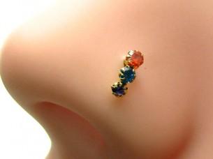 Cute 3 Stone Multicolor CZ Piercing Nose Stud nase Pin Sol..