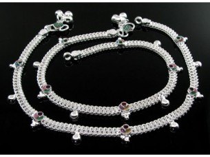 Stunning Indian Real Silver Jewlry Anklets Ankle (Pajeb) B..
