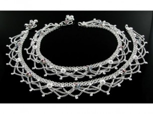 Lovely Indian Real Silver Jewlry Anklets Ankle (Pajeb) Bra..