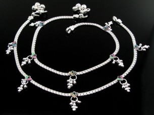 Ethnic Indian Real Silver Jewlry Anklets Ankle (Pajeb) Bra..