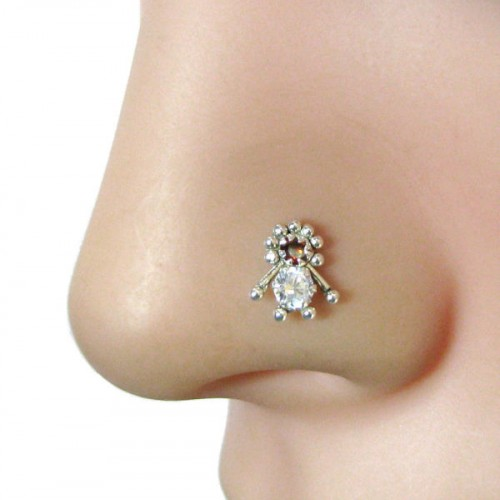 Dazzling Indian Piercing Cork Screw Nose Stud Red White Cz 925