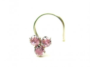 Traditional Indian Piercing Cork Screw Nose Stud Pink CZ 9..