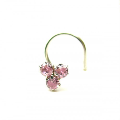 Traditional Indian Piercing Cork Screw Nose Stud Pink Cz 925