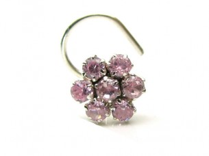 Traditional Indian Piercing Cork Nose Stud Pink CZ Sterlin..