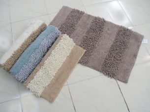 Shaggy Chenille Stripe Bathmat..